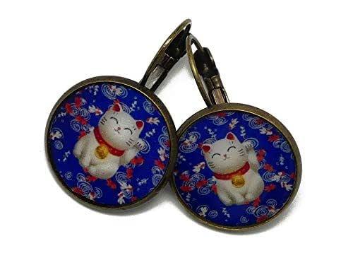 Orecchini retrò cinese gatto cinese portafortuna fascino blu rosso bianco personalizzato regali Natale amici compleanno cerimonia di nozze ospiti festa della mamma coppia