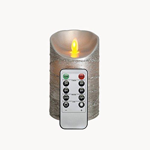 10-Tasten Timer Inklusive 8 x 12,7CM Beweglicher Flamme Silber LED Kerze, Spritzlackierte (Kontrast-taste)