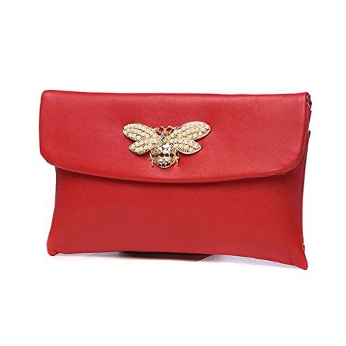 Home Monopoly Borsa a mano di grandi borse della borsa di modo della borsa di temperamento di modo / con la cinghia di polso, cinghia di spalla ( Colore : Nero ) Rosso