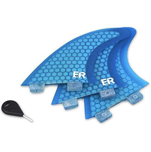 Eisbach Riders Surfboard FCS Fiberglass Honeycomb Fin Thruster Set mit Fin Key (Größe Small/Large) - Finnen Flossen für Surfbrett und SUP (Blau, G3 - Small)