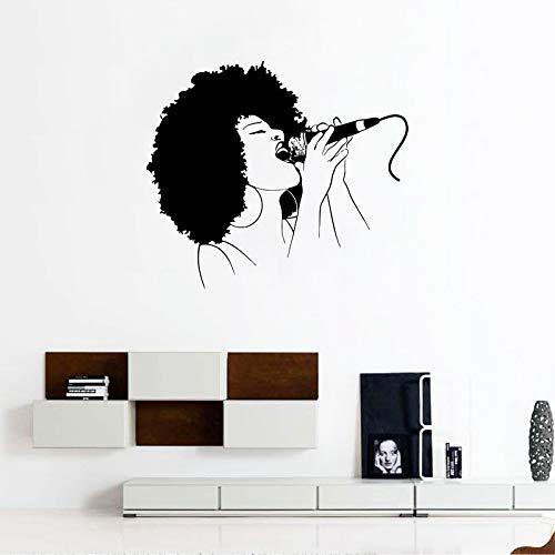 hllhpc Afro Mädchen Singen Vinyl Wandaufkleber Abziehbilder Mädchen Raumgestaltung Muster Musik Melodie Wandtattoo Home Wandkunst Dekor 63 * 56 cm