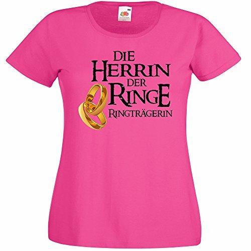 Shirtoo Damen T-Shirt Die Herrin der Ringe - Ringträgerin für Den Junggesellenabschied (Frauen/Braut) in Pink, Größe XXL