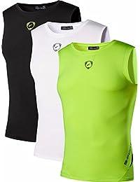 Jeansian Hombre Camisetas de Tirantes Deportes Workout Tank Tops Compression Sportswear 3 Packs LSL207