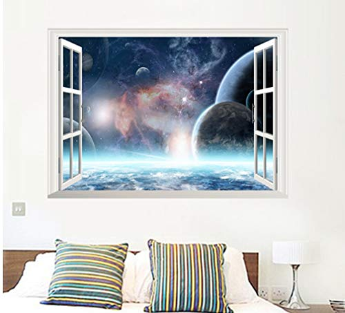 Weltraum Planet Wandaufkleber Wohnkultur 3D Lebendige Fenster Landschaft Wohnzimmer Schlafzimmer Dekorationen Pvc Wandbild Poster