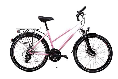 26 Zoll Alu Damen Fahrrad Shimano 21 Gang Scheibenbremsen Nabendynamo Weiss Pink -