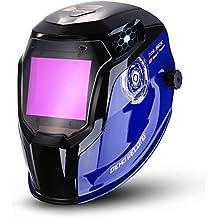 DEKO Casco de soldadura con energía solar Auto oscurecimiento Campana profesional con lente amplia Rango de