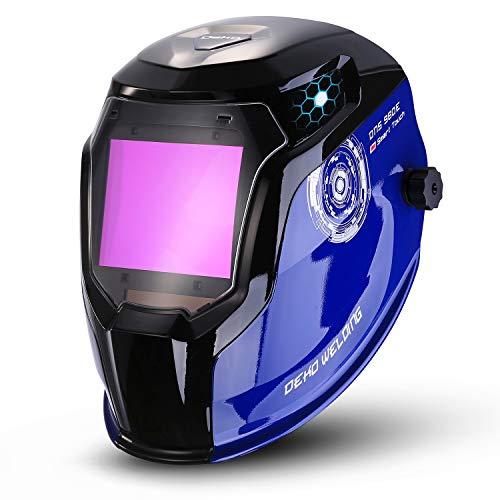 DEKO Solarbetriebener Schweißhelm Auto Darkening Professionelle Haube mit breitem Objektiv Einstellbarer Farbbereich 4/9-13 für Mig Tig Arc Weld Melt-Schweißer-Maske