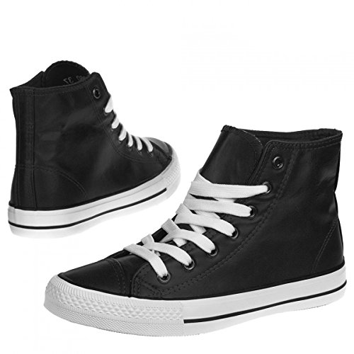 Damen Sneaker Freizeitschuh Damen Sneaker Schnuerschuhe Schuhe Turnschuhe Damenturnschuhe Halbschuhe, Farbe Schwarz, Gr. 40 (Schnürschuhe Reebok Turnschuhe)