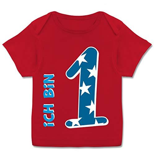 Geburtstag Baby - Ich Bin 1 Blau Junge Erster - 80-86 (18 Monate) - Rot - E110B - Kurzarm Baby-Shirt für Jungen und Mädchen