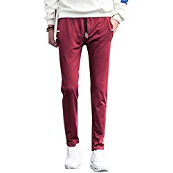 Hombre Casual Pantalones Largos Deportivos Chándal Jogger Chino Jogging Cargo Bolsillo Cordón Vino Rojo 3XL