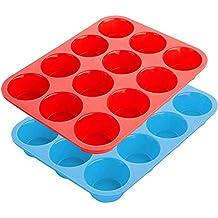 Vassoio antiaderente per 12 muffin,Teglia in silicone per muffin Stampo pirottini in silicone per forno e microonde, lavabile in lavastoviglie (Set da 2 Teglie Blu+Rosso)