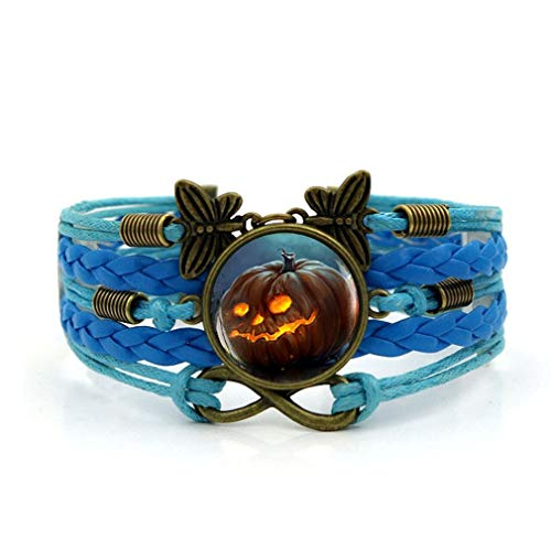 DERNON Kreative Halloween Kürbis Geflochtene Armreif Persönlichkeit Einstellbare Hand Armband blau