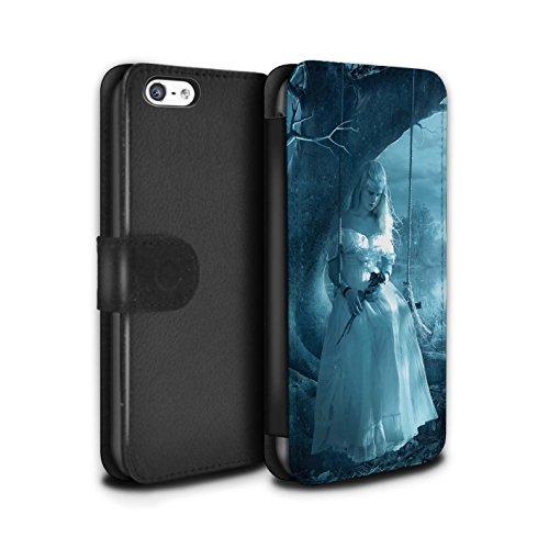 Officiel Elena Dudina Coque/Etui/Housse Cuir PU Case/Cover pour Apple iPhone 5C / Coeur flamboyant Design / Art Amour Collection Luz Sombra