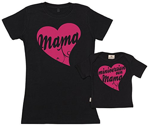 SR - Geschenkpackung Baby Geschenkset - Mama & Miniversion von Mama Set zur Geburt Mutter T-Shirt und Baby T-Shirt in Geschenkbox - Mutter Baby Geschenkset in Geschenkbox, Schwarz, M & 0-6 Monate -