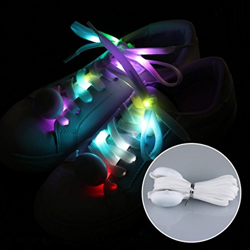 KaariFirefly 1 paire Flash LED Lumineux en nylon Lacets de chaussures de fête de skate Course Disco Lacets, Seven Color
