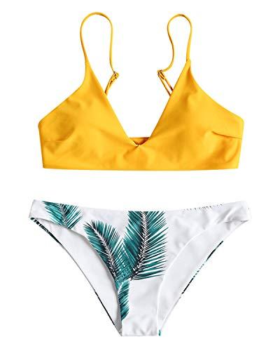 ZAFUL Damen Gepolsterter Bikini Set Bademode Badeanzug mit Blatt Pattern Zweiteilig Gelb Large