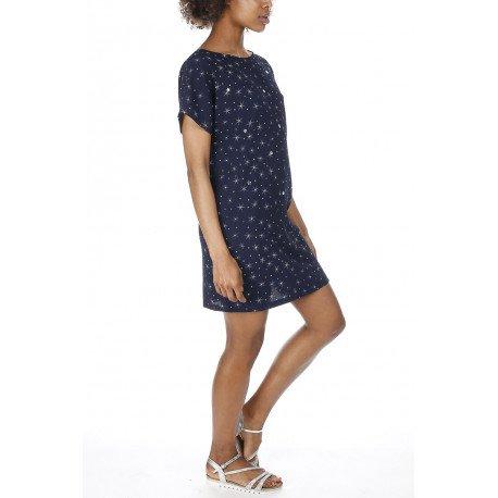 Ideal Shoes - Robe en crêpe imprimé étoiles Katerina Marine