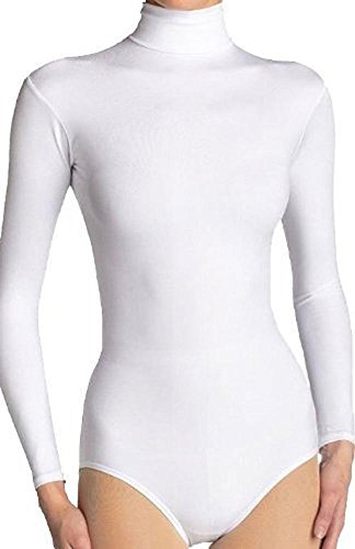Damenqualitäts Walzenzapfens Baumwolle Trikot / Body(Ladies Rollneck Cotton Bodysuit) (X-Wenig(X-Small), Weiß(White))