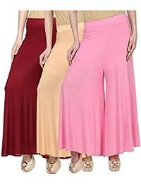 OOPLI Pack-3 Elastic Waist Wide Leg Flared Lycra Palazzo Pants For Women's-Free Size