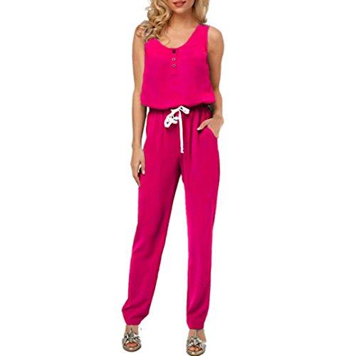 MRULIC Mode Frauen Strappy V-Ausschnitt Tasche Playsuit Bodycon Party Clubwear Jumpsuit (EU-44/CN-XL, Pink)