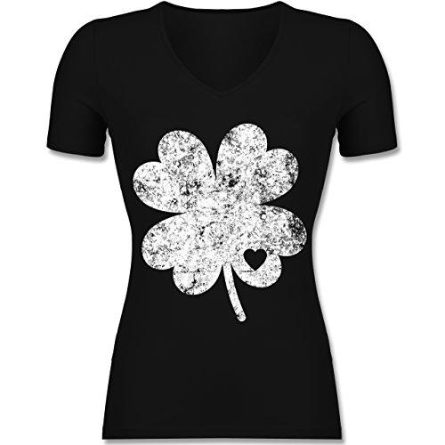 St. Patricks Day - Vintage Kleeblatt mit Herz - Tailliertes T-Shirt mit V-Ausschnitt für Frauen Schwarz