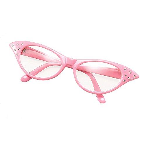 Bristol Novelty BA142P Brille im Stil der 50er, Rosa, Damen, rose, - Im Stil Der 50er Kostüm