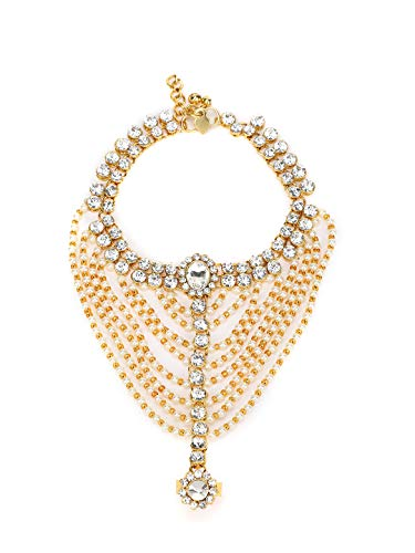 Womensky Antique Golden White Kundan Pearls Stone Gold Plated Anklet for Women and Girls
