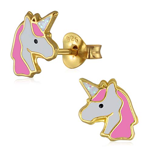 Laimons - Pendientes para niña de plata de ley 925, diseño de unicornio, bañados en oro rosa y blanco