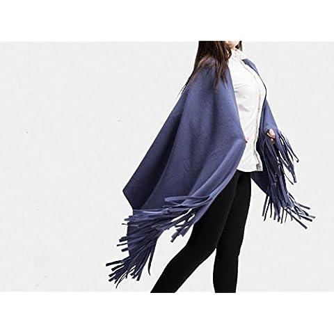 Donne di spessore di lana di alta qualità blu nappe lungo scialle sciarpa caldo autunno e inverno lungo paragrafo