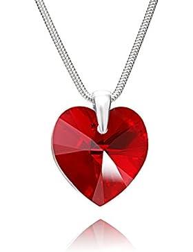 LillyMarie Damen echte Silber-Kette, Silber 925, original Swarovski Elements rot ❤ Herz-Anhänger, 45 cm, mit Schmuckbox...