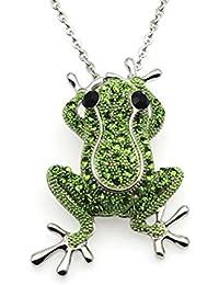 443a1b32a2fa Colgantes de moda collar cristal rana collar broche mujeres joyería (plata)