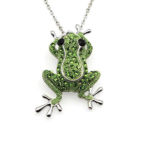 Modische Anhänger Halskette Kristall Frosch Halskette Brosche Frauen Schmuck (Silber)