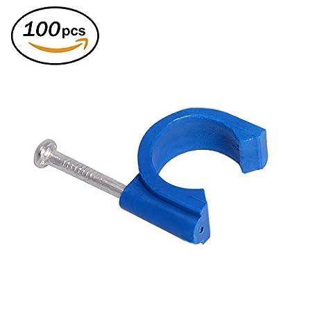 Firecore 100pcs Tuyau Clamp/clip Colliers de serrage pour tube d'irrigation de jardin/hydroponie, bleu