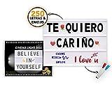Caja de Luz LED A4 con 250 Letras Símbolos Emojis, 2 Marcadores Borrables y 20 Tarjetas Extras,...