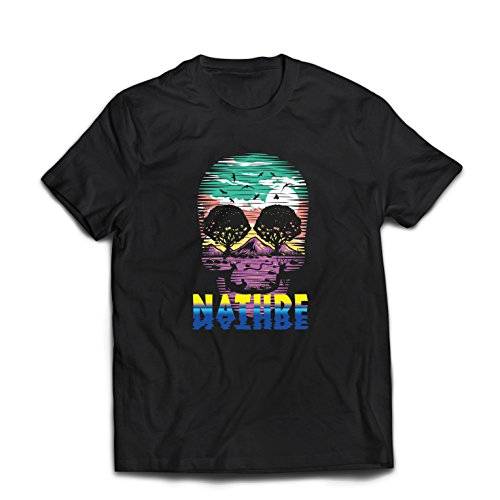 Männer T-Shirt der Natur-Schädel - retten Sie den Planeten, stützen Sie wild lebende Tiere (XXX-Large Schwarz Mehrfarben)