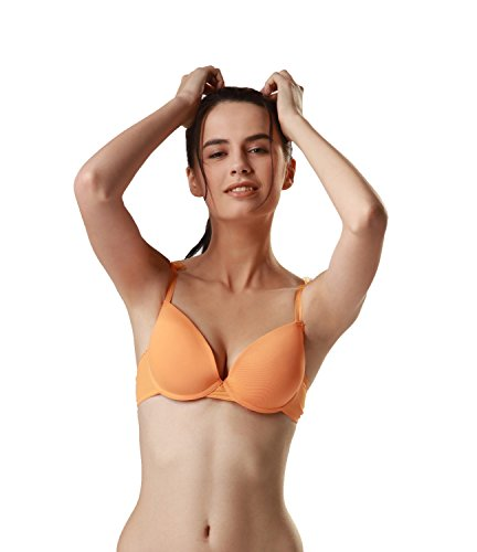 Candour London Padded Orange Coloured Women's Nylon T-shirt Bra