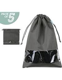 Chaussures de saison/bottes sacs de rangement, sacs de chaussure avec noeud de lacet, cas de chaussure/placard de chaussure, paquet de 5, gris profond