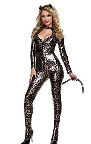 ADFHGFJ Catsuit Batgirl Kostüm Kunstleder Spandex Bodysuit Overall Kleid