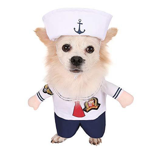 HDE Matrosenanzug mit Kappe Haustier Halloween Kostüm Einteiler Schlupfkostüm mit Armen und Hut für Kleine und mittelgroße Hunde, Medium, weiß