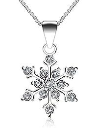J.Rosée Collier en argent 925, pendentif neige fantaisie avec des diamants pour les femmes et filles