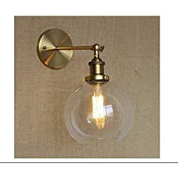 lunettes anti lumière bleue Applique Murale Globe Shade Mini Applique Murale Classique Vintage avec Verre Clair-Doré
