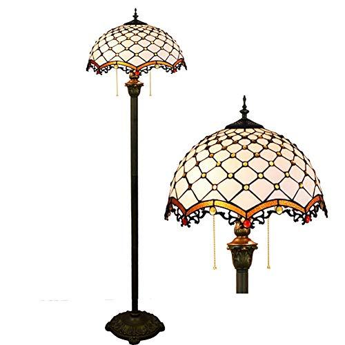 Litaotao 16 '' Tiffany Style Stehleuchte Schlafzimmer Europäischen Stil Stehleuchte Mittelmeer Weiß Handgefertigte Lampenschirm Glasmalerei Geeignet Für Schlafzimmer Wohnzimmer Club -