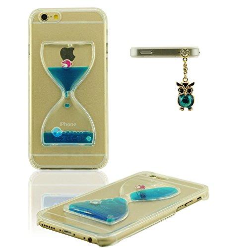 Etui iPhone 6S, Dur Coque pour iPhone 6 / 6S 4.7 inch, Transparent iPhone 6s Case, Design creative Écoulement Liquide Natation canard Sablier FormeÉtui de protection avec 1 Métal pendentif color-3