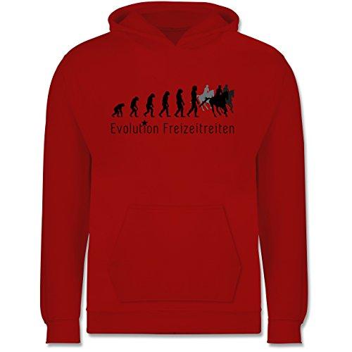 Shirtracer Evolution Kind - Freizeitreiten Ausreiten Reiten Evolution - 12-13 Jahre (152) - Rot - JH001K - Kinder Hoodie