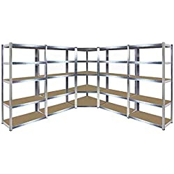 Étagère d'angle galvanisée robuste pour garage - 1 unité d'angle 1500 mm x 700 mm x 300 mm et 4 étagères 1500 mm H x 700 mm l x 300 mm P