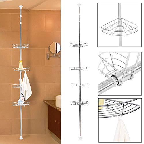 Mensole ad angolo da bagno, scaffale portaoggetti da bagno a 4 ripiani telescopico mensola doccia, in acciaio inox, per shampoo, bagnoschiuma, rasoio e molto altro ,190 - 310 cm, colore: argento