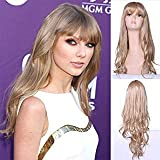 IVY HAIR Taylor Swift Style Long Natural Wavy Hair Wigs with Bangs Synthetic Wig Blond Cosplay Daily Party Wig for Women Natural As Real Hair+ Free Wig Cap