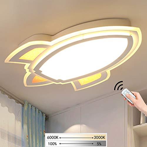 Kinderzimmerlampe LED Junge Mädchen Schlafzimmer Deckenleuchte Kinderzimmer Lampe Deckenlampe Dimmbare Fernbedienung Kinderlampe Weiß Rakete Kinder Leuchte Innen Deko Decke Beleuchtung 60*40 cm 26 W