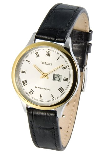 MARQUIS Damen Bicolor Funkuhr, Edelstahlgehäuse, Lederarmband mit Edelstahlverschluss, Armbanduhr, Junghans-Uhrwerk 964.4914