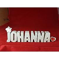 Beton, Steinguss Buchstaben 3 D Deko Namen JOHANNA mit Stern und Herzklammer als Geschenk verpackt! Ein ausgefallenes Geschenk zur Geburt, Taufe, Geburtstag oder auch zu anderen Anlässen.